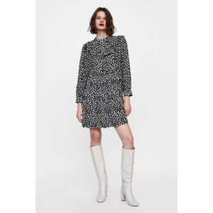 NWT Zara Ruffled Animal Print Mini Dress